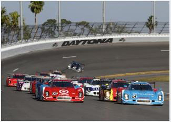 Racing at Daytona International Speedway.