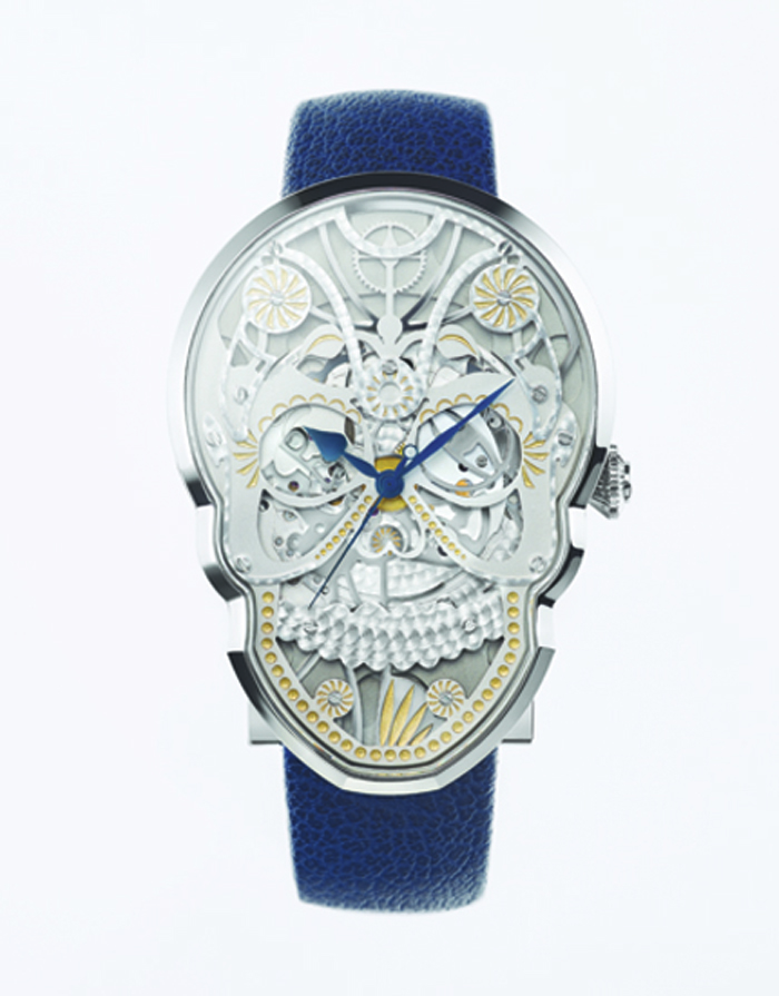 The layered dial and skeletonized movement of the Fiona Kruger Skull watch make it very complex and alluring.