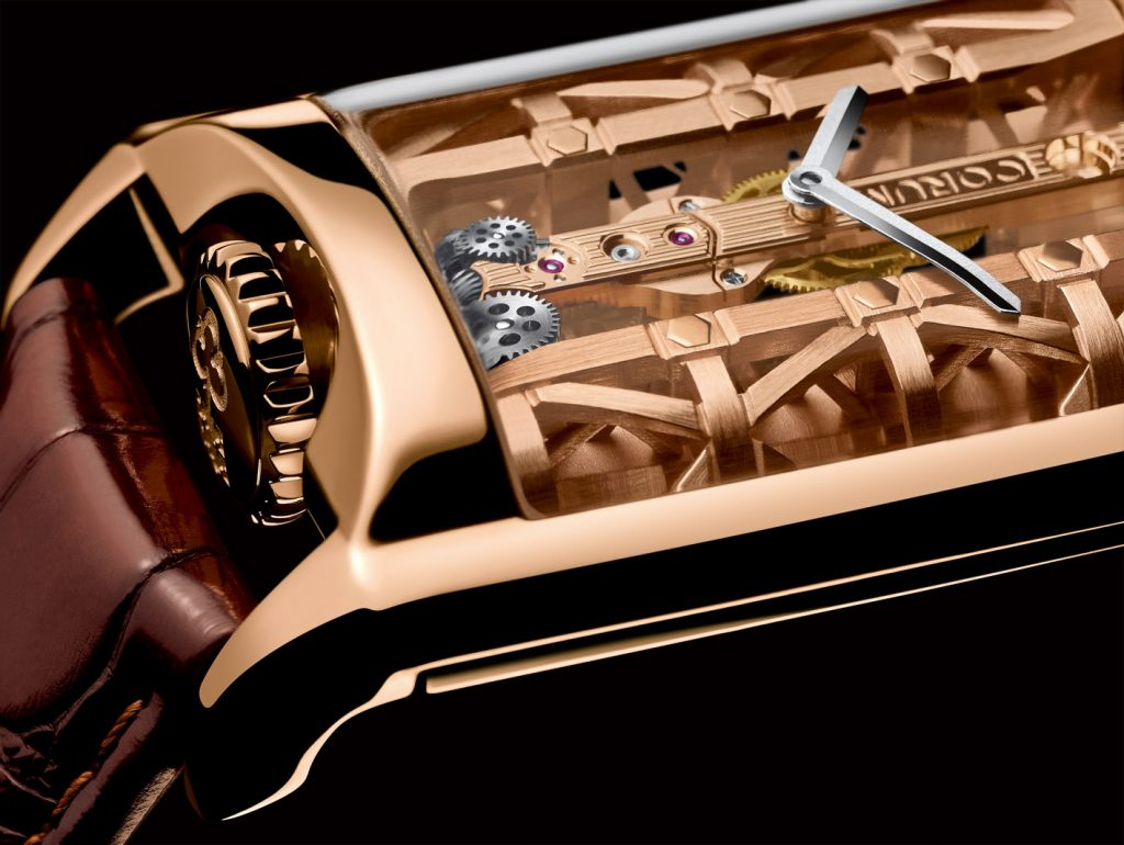 The Corum Golden Bridge Stream watch features 18-karat gold structures on either side of the linear movement.