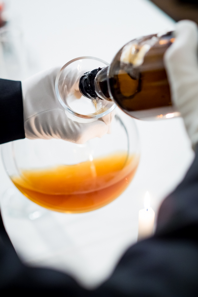 The rare vatted Glenlivet 1862 whiskey used in the Louis Moinet Whiskey Watch was opened and decanted by Wealth Solutions before the Baselworld Show and then poured into vials and sealed.