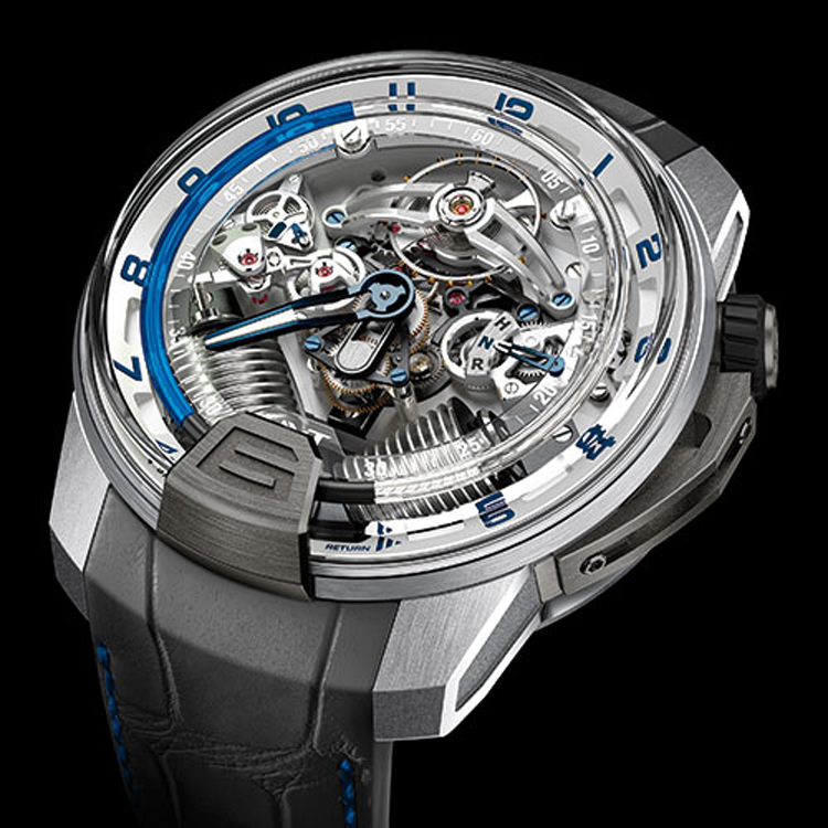 The HYT H2 Titanium and White Gold watch now features blue liquid.