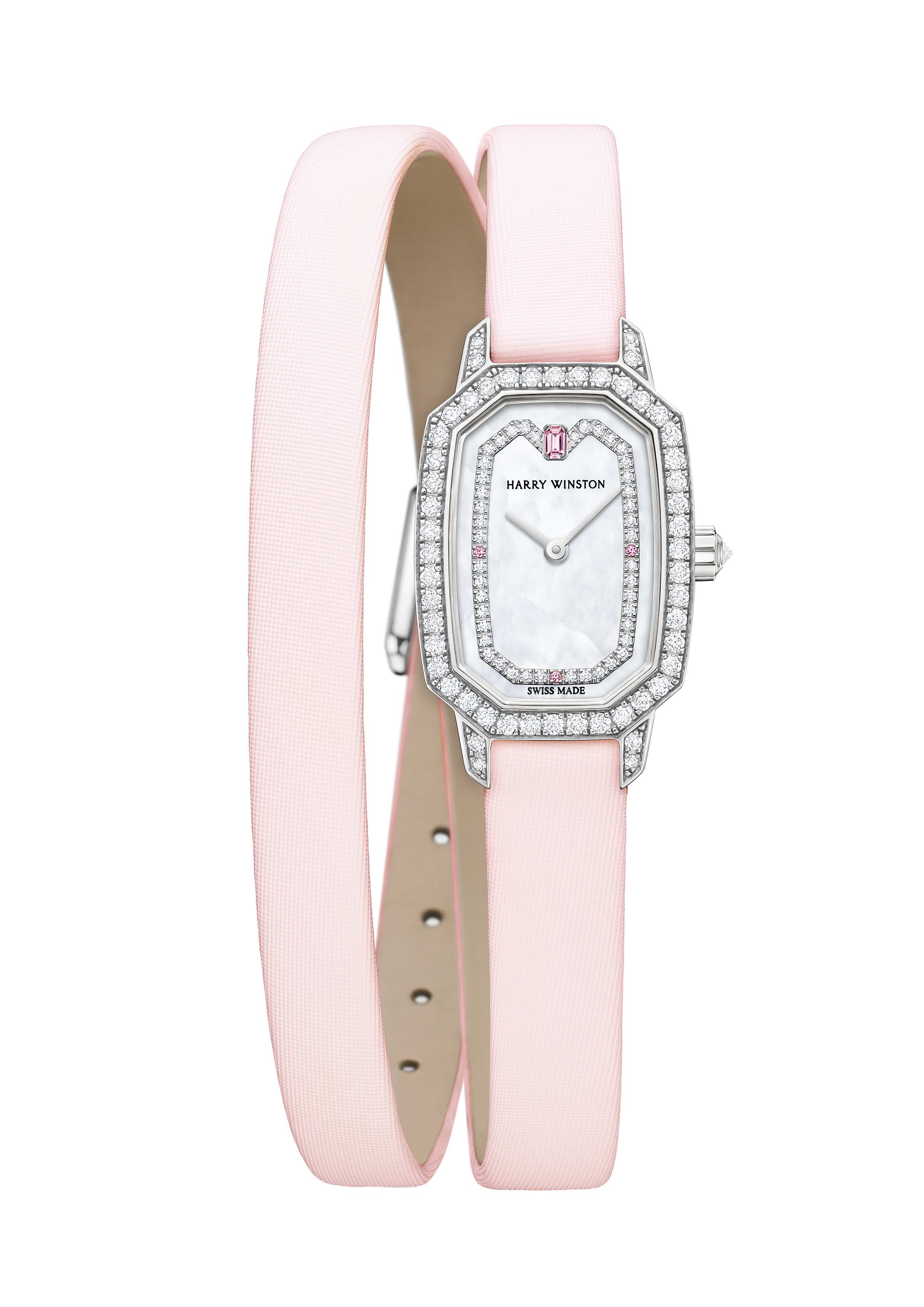 The Harry Winston Emerald watch is powered by a quartz movement.