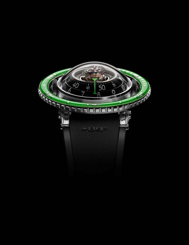 MB&F HM7 Aquapod Titanium with Green bezel houses a 303-part movement with tourbillon.