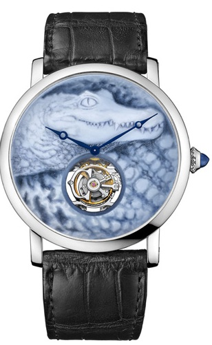 Rotonde de Cartier Crocodile with agate cameo dial