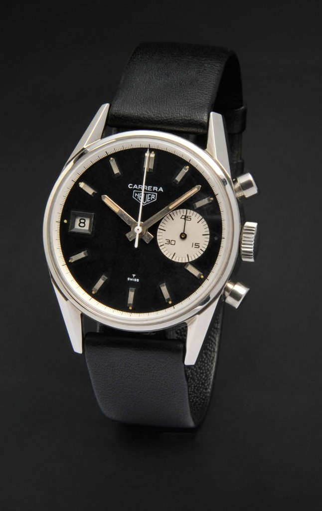 Vintage Heuer Carrera, 1965 traveling as part of the TAG Heuer Museum in Motion exhibit