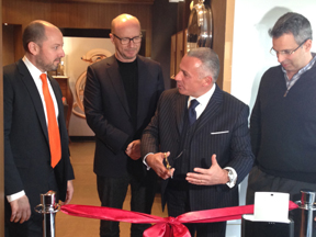 At the ribbon-cutting ceremony of the new New York Bovet Boutique. Michael Rosenberg; Paul Haggis,APJ, Pascal Raffy, Jeffrey Khalaf.