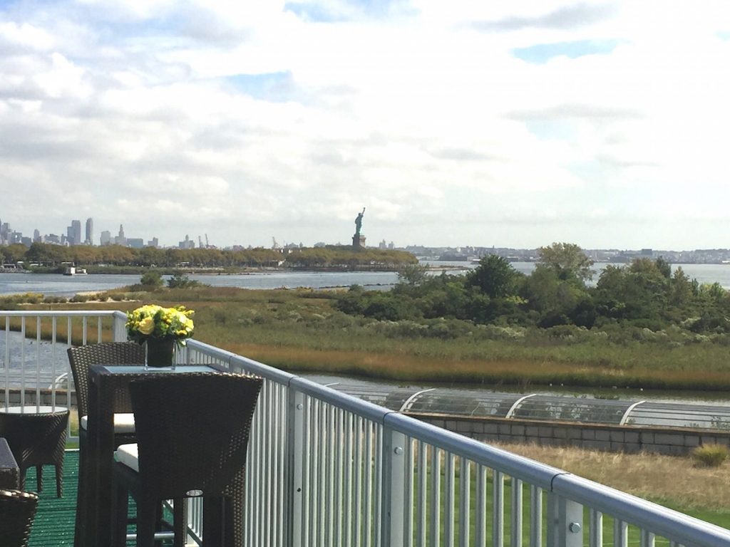 The view from the Rolex suite at Liberty National Golf Club, New Jersey during The Presidents Cup 2017.