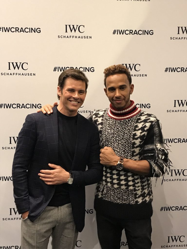 IWC brand ambassadors James Marsden, actor, and F1 driver Lewis Hamilton at IWC New York.
