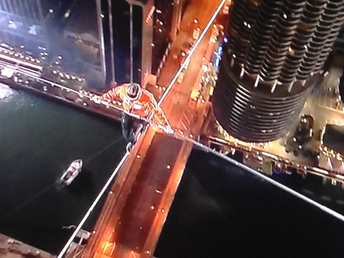 King of the High Wire crossing the Chicago River