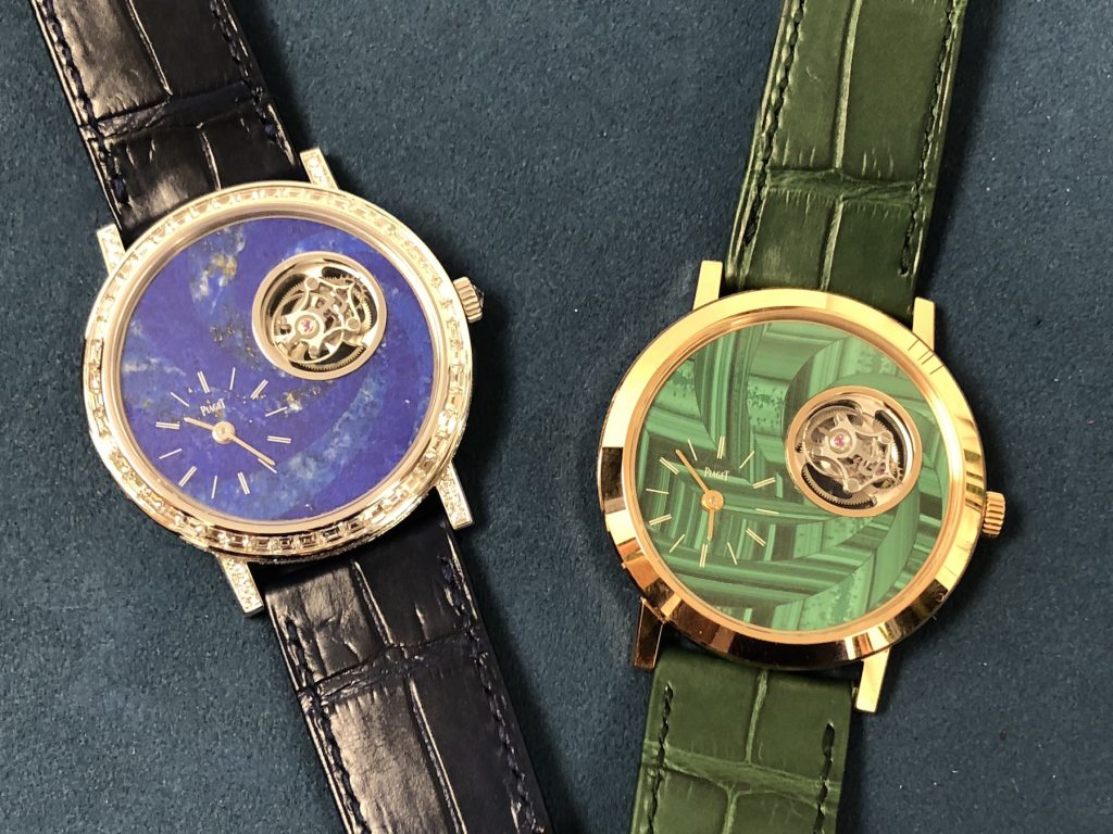 Piaget Altiplano Tourbillon watches made with marquetry gemstone dials (malachite, lapis lazuli).