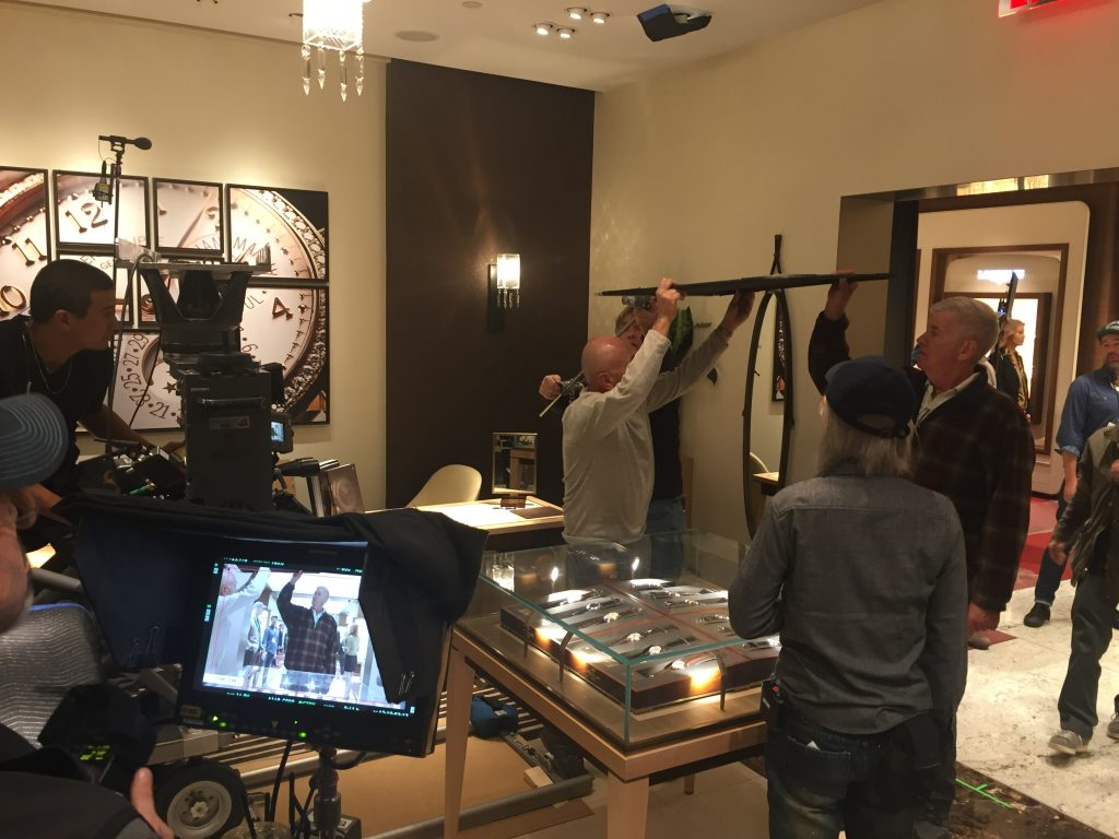 "Behind the scenes at Wempe Jewelers in New York for the filming of episode 4 of ""Billions."""