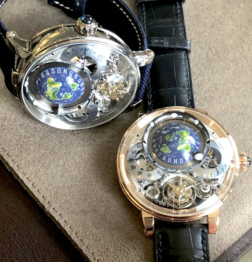 The Bovet Recital 22 Grand Recital 9-day Flying Tourbillon Tellurium-Orrery and Retrograde Perpetual Calendar is offered in 18-karat 5N rose gold or in platinum.