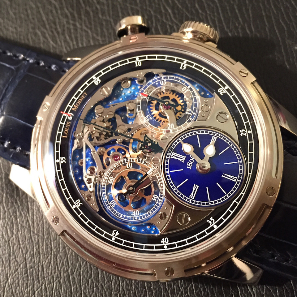 The Louis Moinet Memoris chronograph watch features high-tech materials and unusual techniques for the shimmering stars.