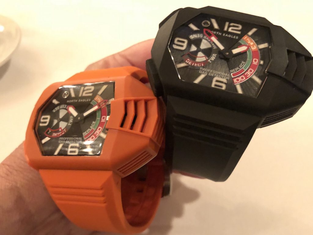 North Eagles H2S Professional Gas Detector watch detects deadly gas and warns the wearer.