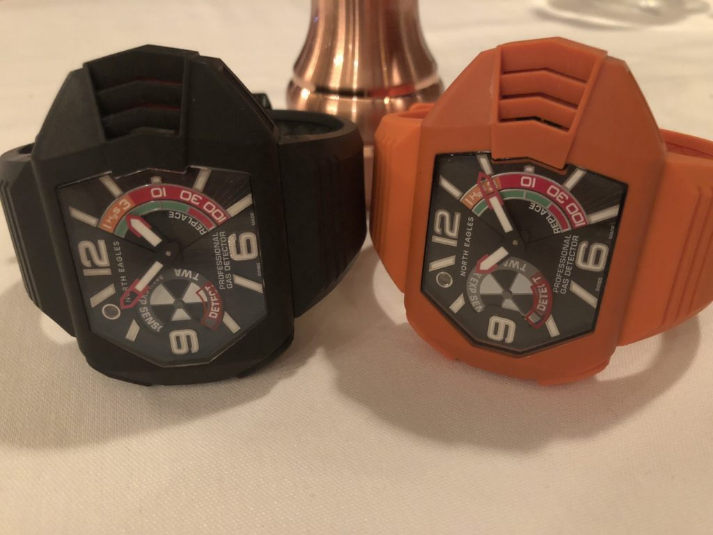 North Eagles H2S Professional Gas Detector watch with patented triple alarm system.