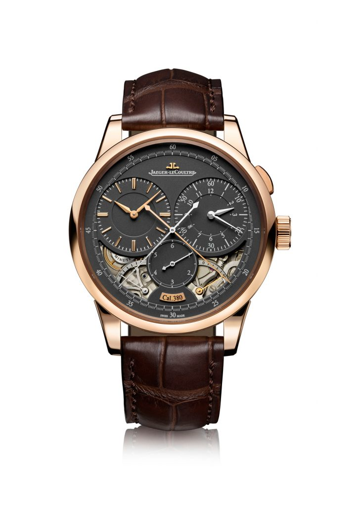 This year, Jaeger-LeCoultre equips certain of its Duometre watches, like this Duometre Chronograph with dark gray dials.