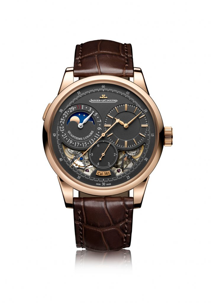 The Jaeger-LeCoultre Duometre Quantieme Lunaire in rose gold with gray dial.
