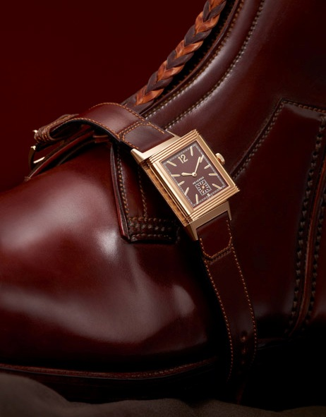 Jaeger-LeCoultre Grande Reverso Ultra Thin 1931 with strap by Argentina polo boot maker, Casa Fagliano.