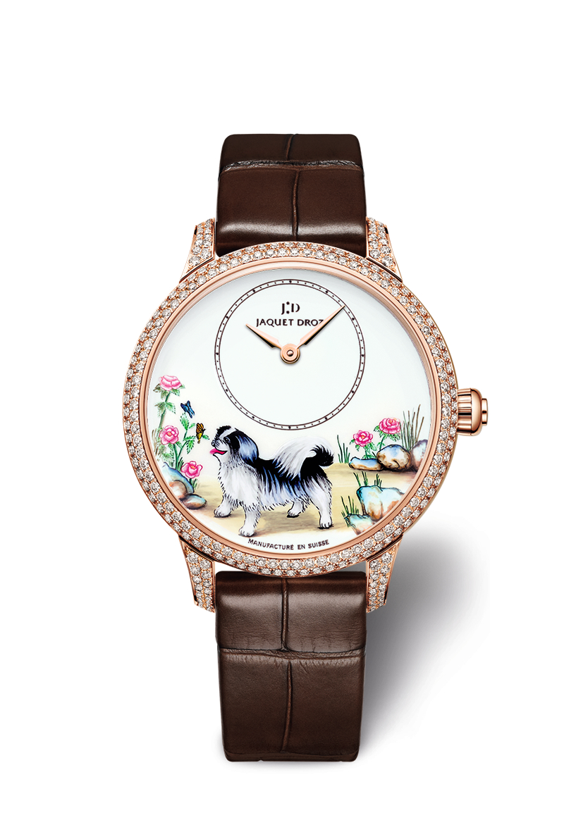 Jaquet Droz Petite Heure Minute Dog with diamonds and floral background
