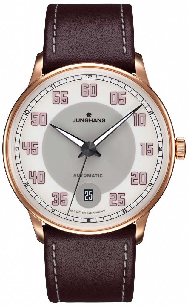 he color brown of the Jungians Meister Driver Automatic watch is inspired by vintage driving gloves.