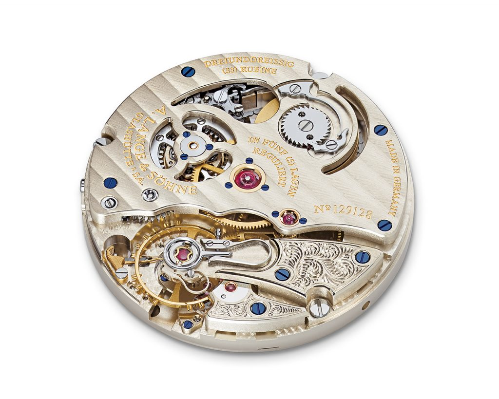 The manual wound movement enables the wearer to move the second time zone from the subsidiary dial to the main dial.