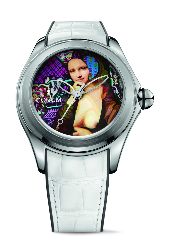 The first Corum Bubble 47 Magical watch by Fantone featured a likeness of Mona Lisa.