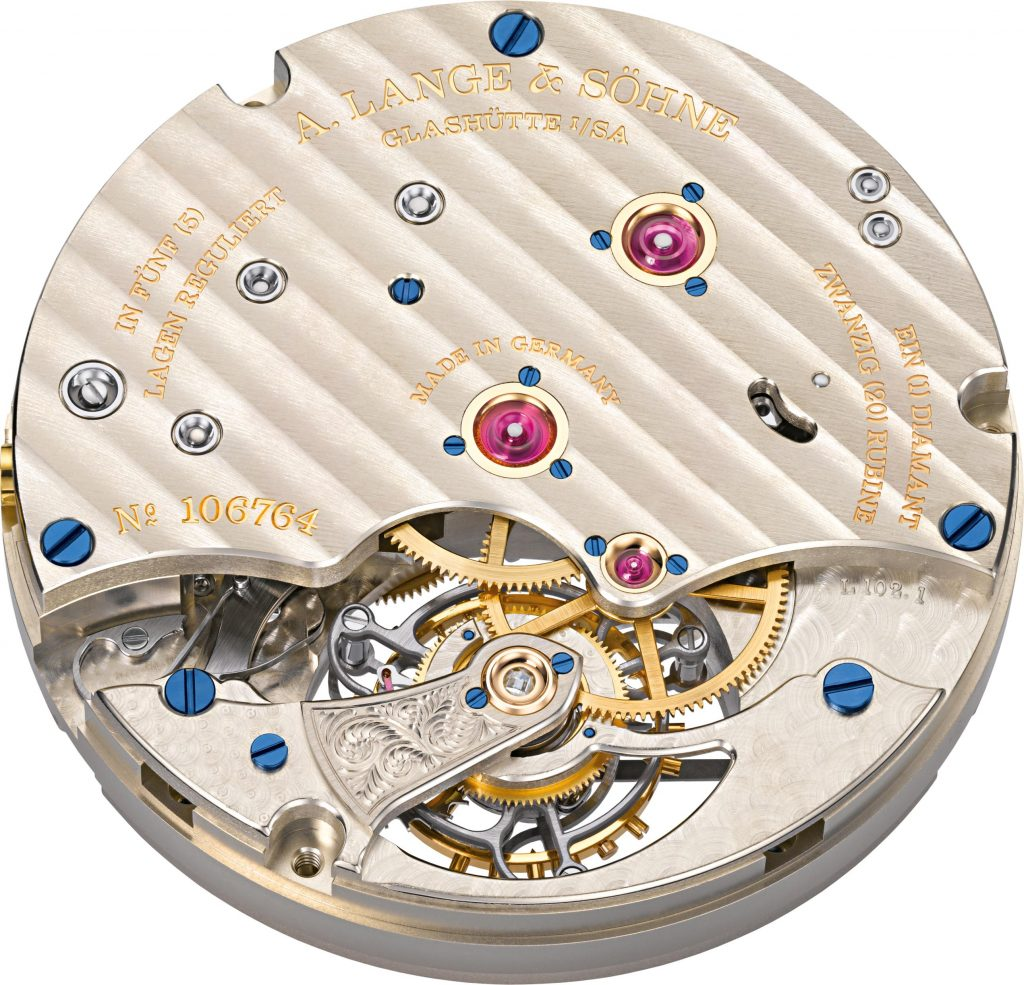 A. Lange *& Sohne 1815 Tourbillon Enamel watch is powered by the L102.1 caliber with two patented mechanisms.