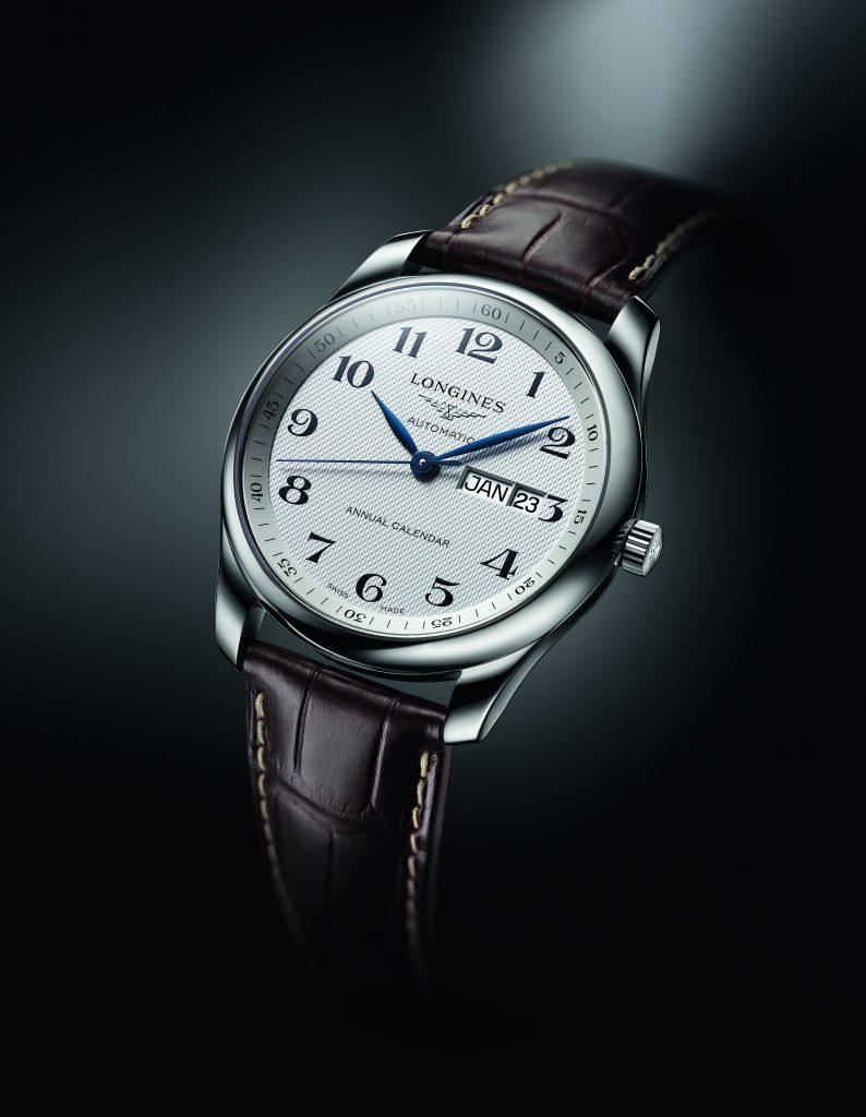 The Longines Master Annual Calendar retails for $2,425.