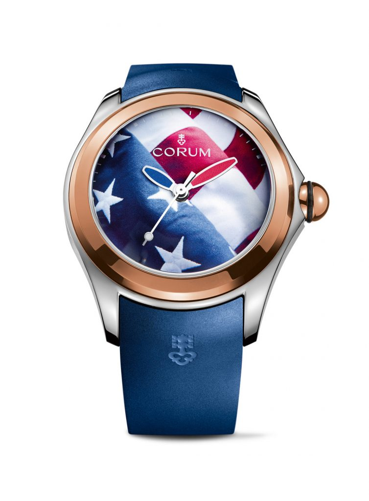 Corum Bubble Big Bubble American Flag watch in titanium with rose gold bezel.