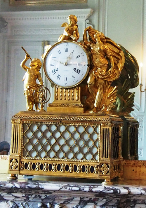 Stunning gilt clock by LeRoy in Petit Trianon.