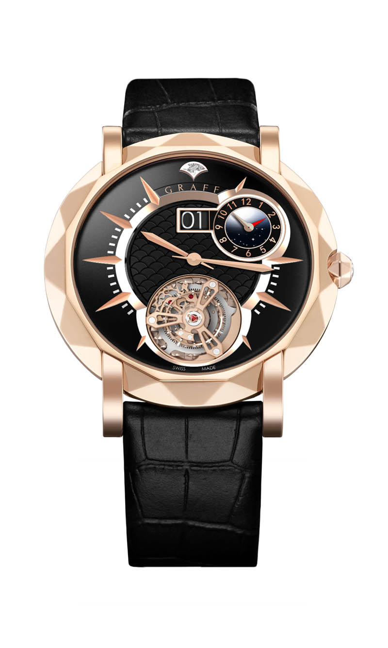 THe MasterGraff offers flying tourbillon, instanteous date change on the Grand Date and Dual Time Zone indicator.
