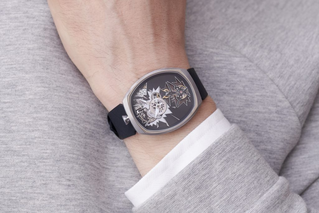 The concept behind the new Fiona Kruger Chaos Mechanical Entropy watch is evident in the design.
