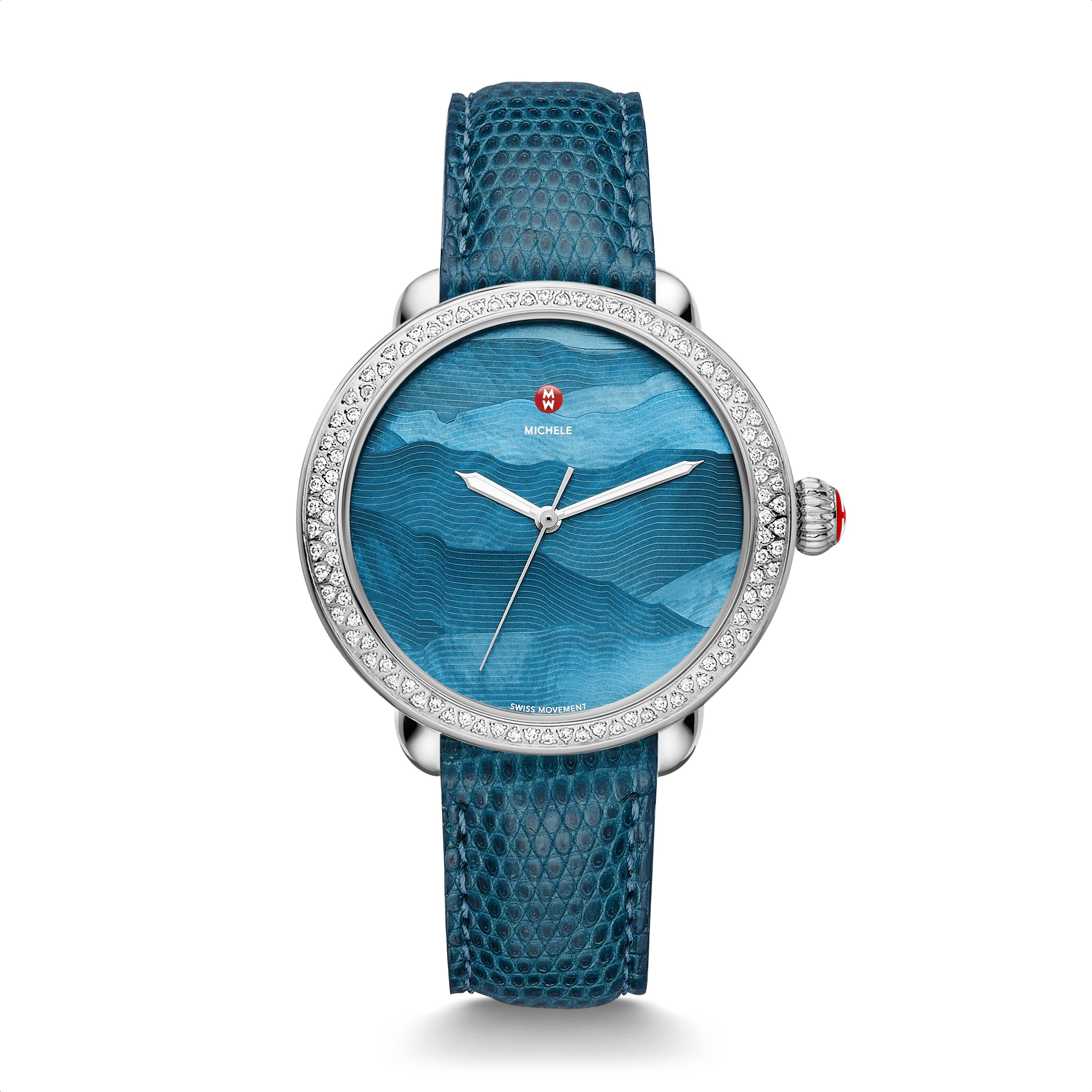 Michele watches serein dimaond with teal gradient dial and blue lizard strap 2 215 for Gradient dial watch
