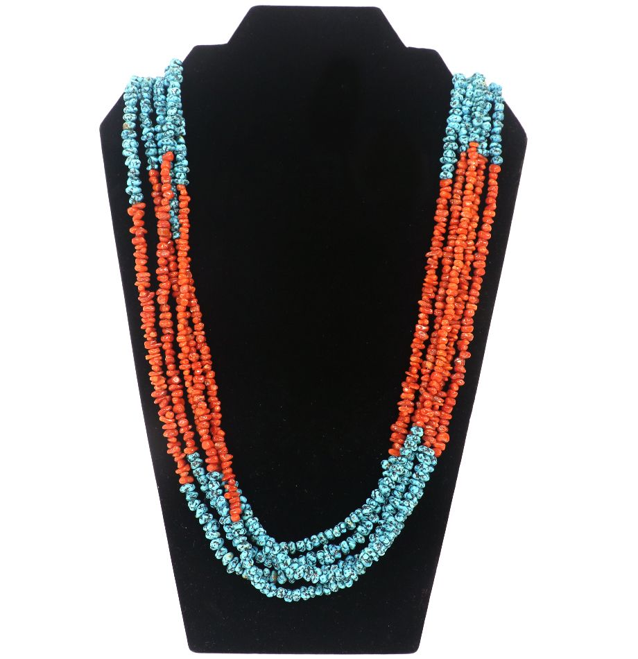 Navajo Turquoise & Coral Heishi Necklace to benefit JDR (Juvenile Diabetes Research) -- via the Charitybuzz.com auction.