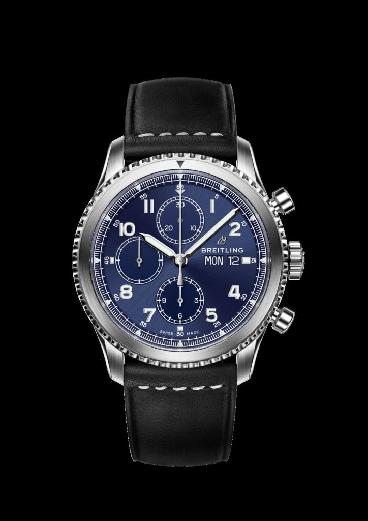 Breitling Navitimer 8 Chronograph with blue dial and stainless steel bracelet.