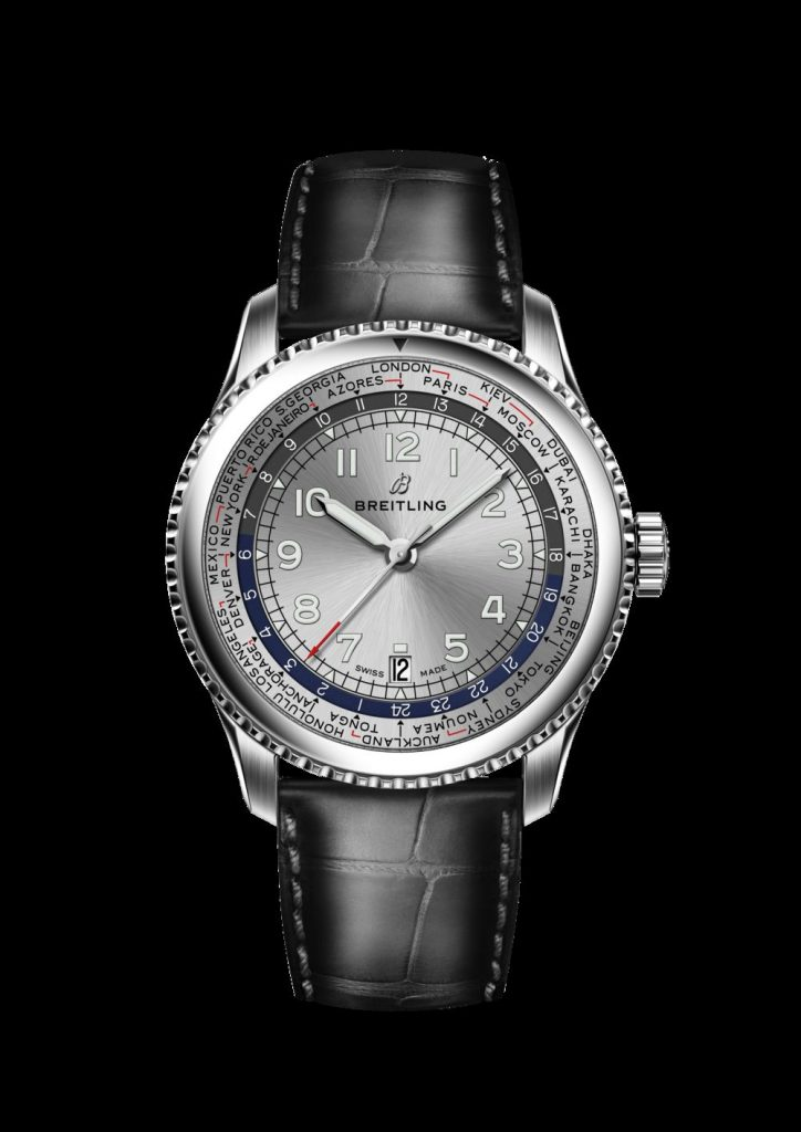 Breitling Navitimer 8 Unitime with silver dial and black alligator leather strap.