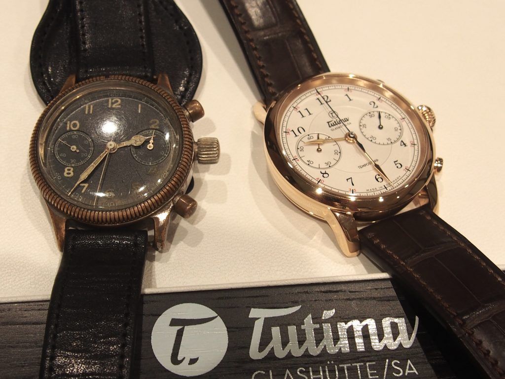 The new Tutima Tempostopp watch (right) was inspired by an original Fliegerchronograph watch by the brand made in 1939 (left).