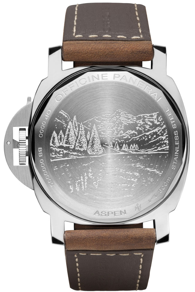 The engraved case back of the specially made PAM 00467 Luminor Marina features the Rocky Mts in the background.