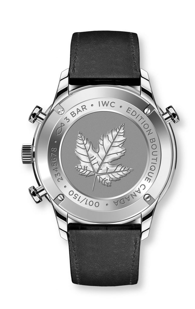 The caseback of the IWC Portugieser Rattrapante Boutique Canada watch is engraved with the maple leaf.