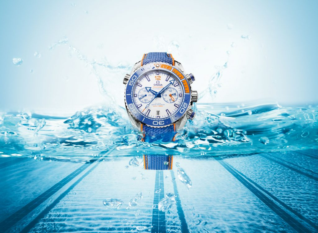 Omega Seamaster Planet Ocean Michael Phelps watch is water resistant to 600 meters.