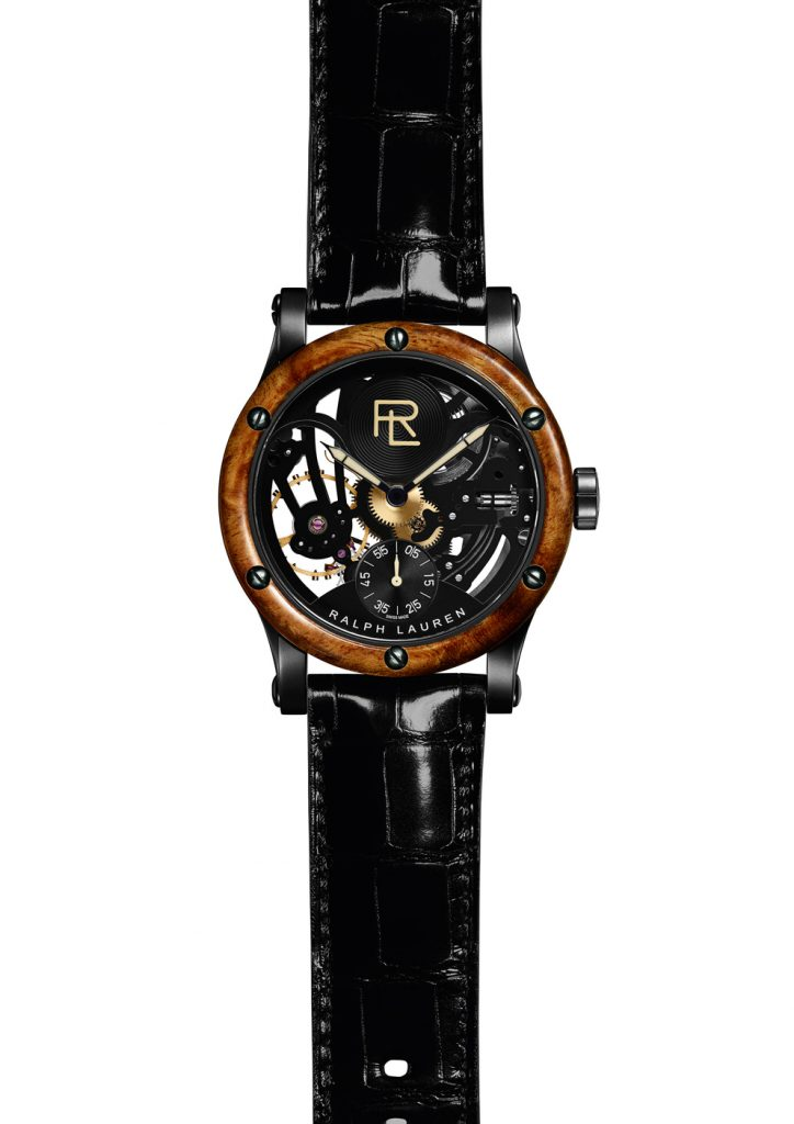 The movement inside the Ralph Lauren Automotive Skeleton watch was made by IWC for Ralph Lauren.