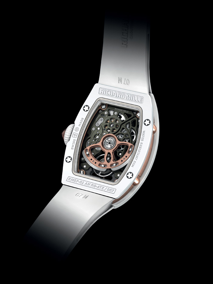 The RM07-01 Ceramique houses the caliber CRMA2 -- a highly skeletonized automatic movement specially made for this timepiece