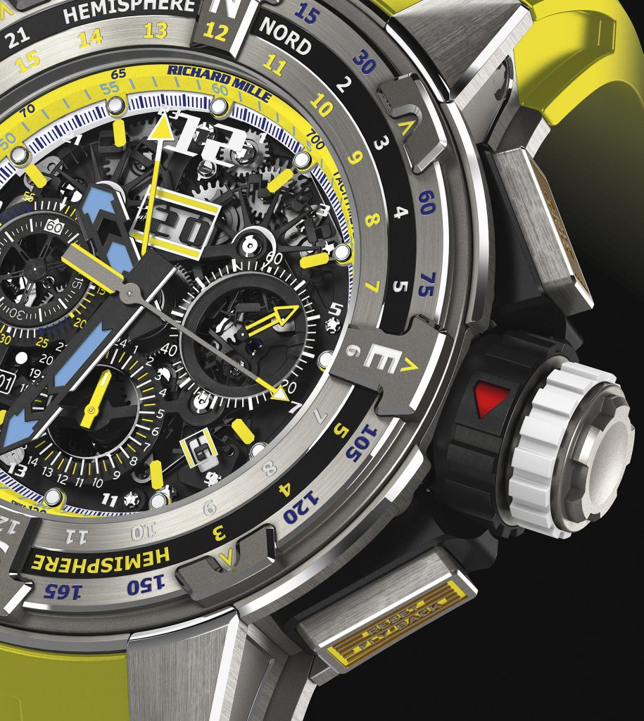 A Close up look at the $161,000 Richard Mille RM 60-01 Les Voiles de St. Barth Limited Edition watch.
