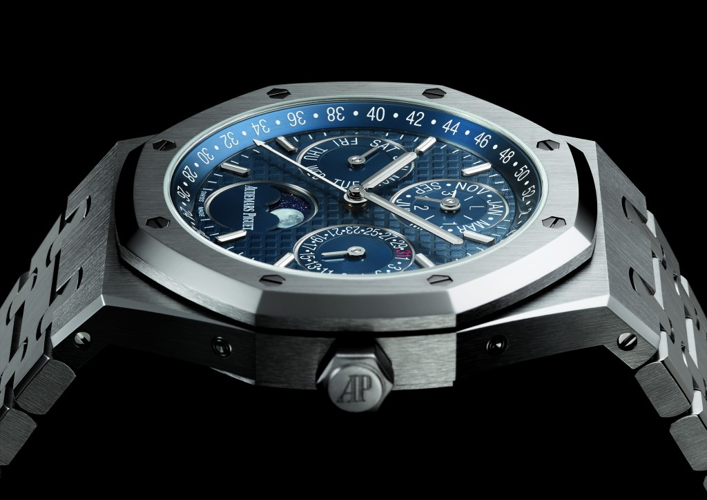 Stainless steel version with blue dial
