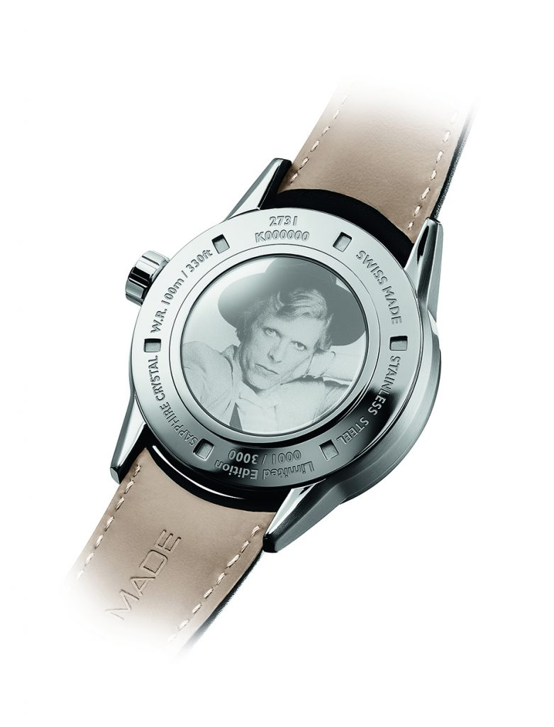 An image of David Bowie is engraved on the caseback of the Raymond Weil Freelancer David Bowie watch.