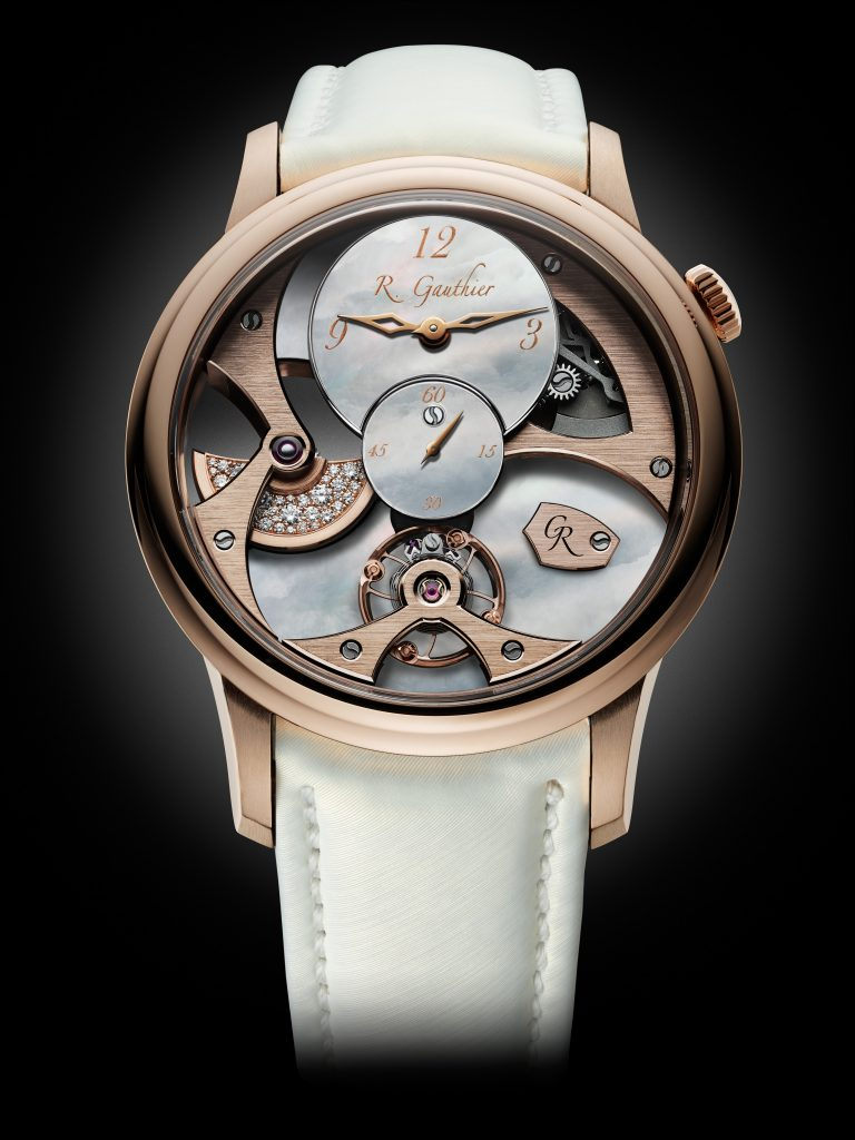 Romain Gauthier Insight Micro-Rotor Lady watch in rose gold seen at Watches & Wonders Miami.