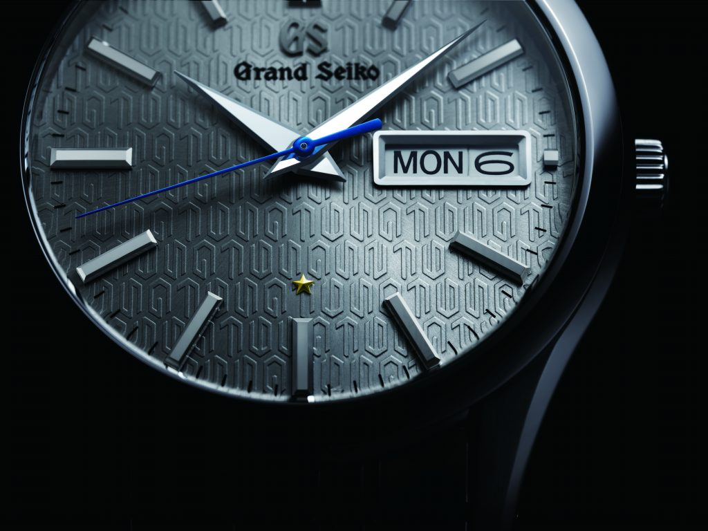A close up look at the dial motif of the Grand Seiko Caliber 9F 25th Anniversary watch, ref. number SBGT241.
