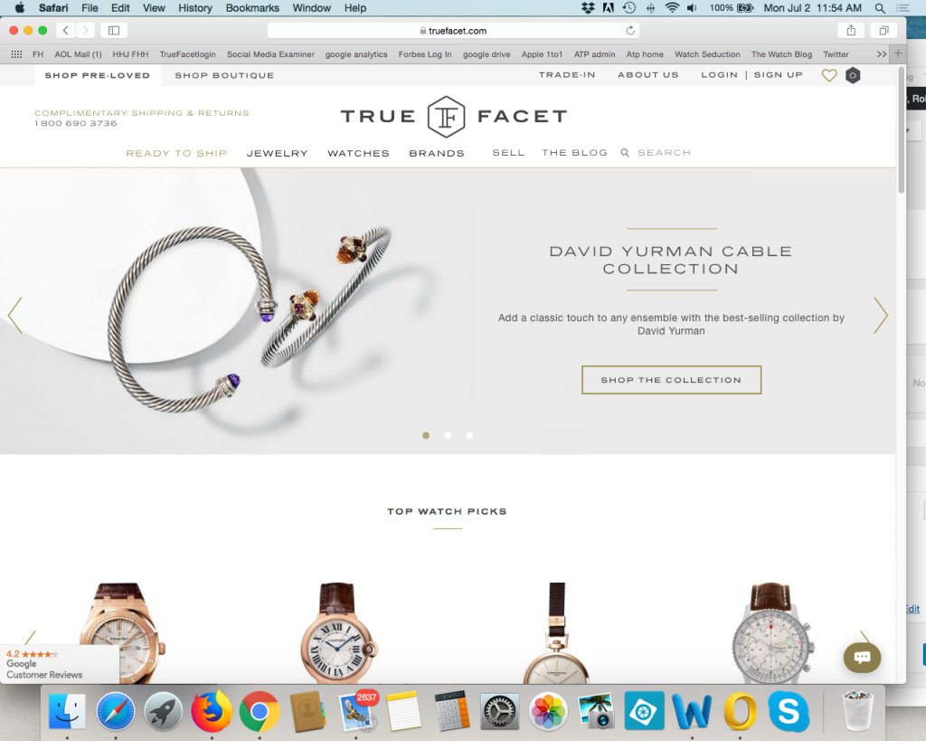 TrueFacet.com is an online seller of pre-loved and new jewelry and watches.
