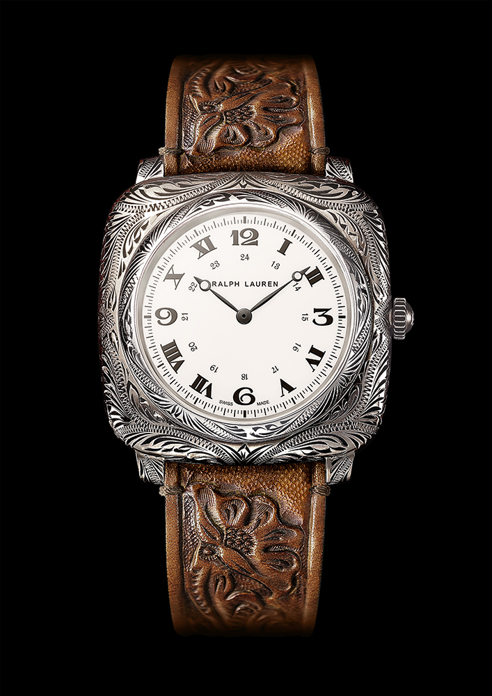 Ralph Lauren American Western Collection Cushion watch in sterling silver.