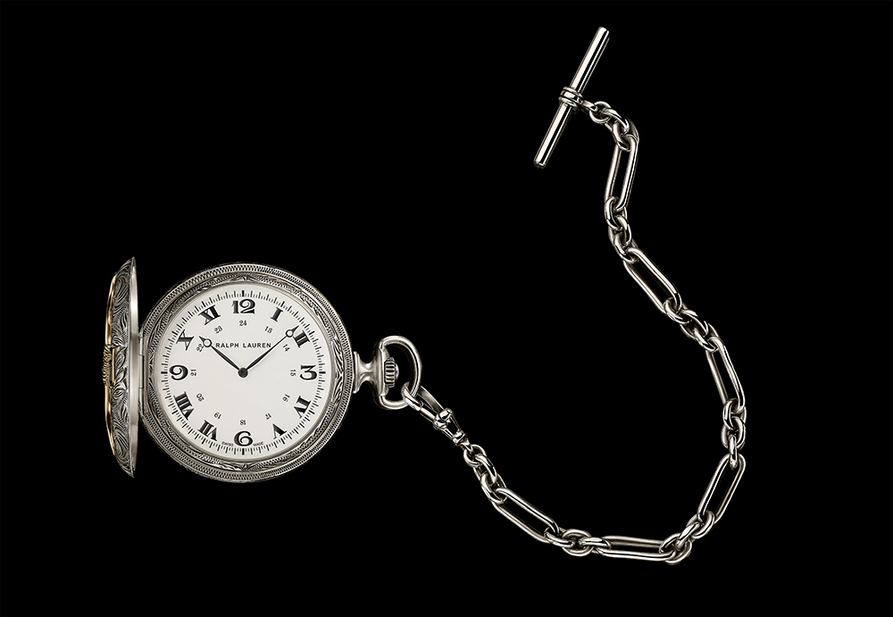 Ralph Lauren American Western collection pocket watch in sterling silver.